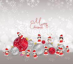 Christmas background with bauble, kids, snow and snowflakes royalty-free stock vector art