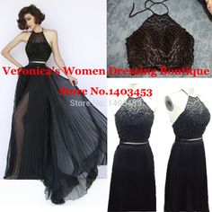 Black Pleated Chiffon Halter A Line Prom Dress With Beaded Top 2 Pieces Skirt Long Evening Dress