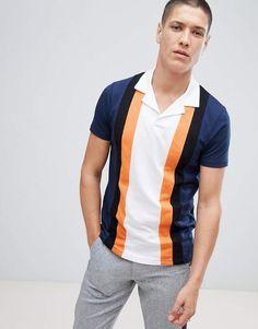 2841e140351 Asos DESIGN polo shirt with retro vertical panels and revere collar Polo Shirt  Outfits