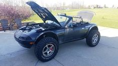 1990 Mazda Miata Base Model with Dick Cepek Extreme Country tires on 15 inch wheels. Race Car Track, Lifted Cars, Mazda Miata, Rally Car, Car Pictures, Custom Cars, Cars And Motorcycles, Offroad, Cool Cars