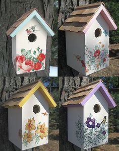 Botanical Print Cottage Series Collection Set of 4 Botanical Print Cottage Series Collection Set of 4 primitivas Decorative Bird Houses, Bird Houses Painted, Bird Houses Diy, Fairy Houses, Birdhouse Craft, Birdhouse Designs, Rustic Birdhouses, Garden Crafts, Garden Art
