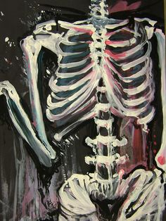 From AP Studio Art class. We had to paint a skeleton, Fred, expressionistically. Arte Indie, Arte Obscura, Funky Art, Hippie Art, Psychedelic Art, Art Drawings Sketches, Pretty Art, Art Sketchbook, Aesthetic Art