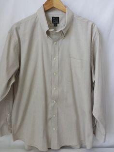 Jos. A. Bank Men's Dress Shirt Executive Beige Size 17 1/2 -34 Cotton 100%  #JosABank