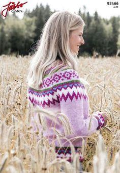 'Bubble gum' - long-sleeved sweater with patterned support Llamas, Bubble Gum, Long Sleeve Sweater, Knit Crochet, Tie Dye, Wool, Knitting, Pattern, Handmade