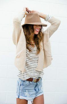 Slouchy.love this look; like shorts to be 4 inches longer