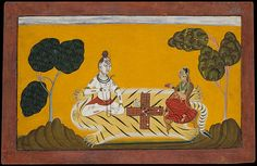 Devidasa of Nurpur | Shiva and Parvati Playing Chaupar: Folio from a Rasamanjari Series | India (Basohli, Jammu) | The Met