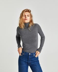 Image 2 of POLO NECK SWEATER WITH PEARLY BUTTONS from Zara