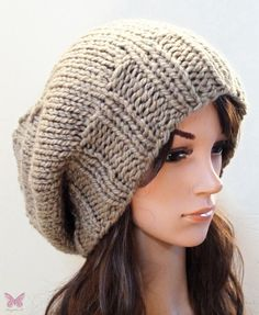 Slouchy beanie hat  LIGHT KHAKI GREEN  knit  womens by BeanieVille, $35.00  @mabelle: am not crazy about beanies as my hair is curly and pouffy, but this slouchie beenie would work for me. LIKE