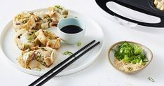Making your own dumplings just got easier with this pie maker recipe featuring a garlic, ginger pork filling and soy and sesame dipping sauce. Dumpling Recipe, Dumplings, Easy Dinners For Kids, Cheesecake Swirl Brownies, Just Pies, Ginger Pork, Banana Bread Muffins, Flaky Pastry, Wonton Wrappers