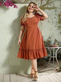 Plus Button Front Flippy Hem Bustier Dress – kidenhome Bustier Dress, Maxi Dress With Slit, Mesh Dress, The Dress, Big Size Dress, Plus Size Dresses, Plus Size Outfits, Occasion Maxi Dresses, Looks Plus Size