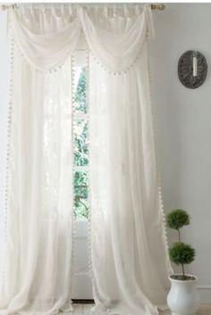 Pom Pom Linen Curtain from Soft Surroundings