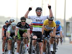 This is what we want to see this year - Cav hands aloft after winning stages.    First win in 2012 for Team Sky and the Manx Missile, in Stage 3 of Tour of Qatar.... Followed very quickly by their 2nd stage, Petter Nordhaug taking Stage 3 in Mallorca.    Great day for Team Sky!!