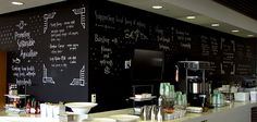 Still not tired of chalkboard! What a piece of art it is. Chalkboard Wall Bedroom, White Counters, Break Room, Cafe Design, Office Decor, Coffee Shop, Sweet Home, Wall Decor, Restaurant