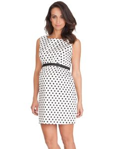 <p>The classic black & white polka dot print is striking, easy to style and bang on trend this season, and the simple shift style is designed to grow with you for a flexible fit throughout your nine months and beyond! Made in high quality stretch cotton sateen, and fully faced at the neckline and arms, this dress feels well made, and there's no fear of it being see-through.  The simple sleeveless shift dress hits above the knee for a flirty summer style, and the bodice is specially shaped…