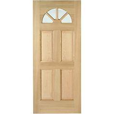 Wickes Carolina External Oak Door Glazed 4 Panel 2032 x Modern Exterior Doors, Wood Exterior Door, Timber Door, Wooden Doors, External Oak Doors, Veneer Door, Happy House, House Doors, Entry Doors
