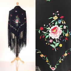 Your place to buy and sell all things handmade Colorful Flowers, Pink Flowers, Vintage London, Thread Work, Bohemian Gypsy, Floral Motif, Embroidered Flowers, Shawls, Vintage Antiques