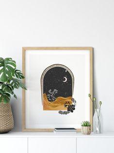 Boho Decor Boho Wall Decor Moon Print Boho Home Decor Art Mural Fashion, Burnt Orange Decor, Chanel Wall Art, Interior Minimalista, Décor Boho, Boho Chic, Diy Apartment Decor, Home Decor Paintings, Moon Print
