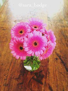Pink Daisies  Mason Jar Mason Jar Flower Vase  Reclaimed Barn Wood Table
