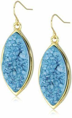KARA by Kara Ross Marquis Single with Peacock Blue Drusy Drop Earrings KARA by Kara Ross. $125.00. Gold. Peacock blue drusy. Made in USA