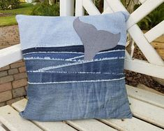 Denim pillow - Upcycled Denim throw pillow cover, whale tail in water, 16 square with – Denim pillow Diy Pillow Covers, Diy Pillows, Throw Pillows, Decorative Pillows, Cushion Covers, Water Pillow, Denim Scraps, Jean Crafts, Denim Ideas