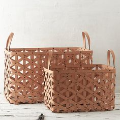Woven Leather Cylinder Basket in Outdoor Living Fireside Accessories at Terrain