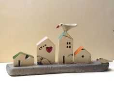 Ceramics and pottery handmade sculpture , ceramic sculpture of miniature houses , rustic houses and ceramic birds / one of a kind