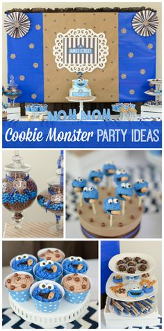 A blue and brown Cookie Monster themed party with cute cake pops and chocolate chip cupcakes! See more party ideas at CatchMyParty.com!