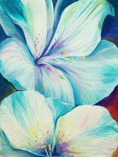 Items similar to ART Original Oil Painting Two Flowers Home decor Wall decor azure blue flower Original & Art Print +++ Ready to HANG!+++ on Etsy Simple Oil Painting, Oil Painting Texture, Watercolor Paintings, Original Paintings, Original Art, Arte Floral, Abstract Flowers, Pictures To Paint, Art Oil