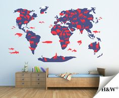 Animals World Map  Children Room Decor  Nursery Wall by HomeWall, $161.00