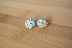 Japanese kimono fabric post earrings  light blue by sarabamanda
