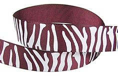 HipGirl 7/8' Zebra Prints Grosgrain Ribbon (Burgundy(Maroon)/ White) -- Check out the image by visiting the link.