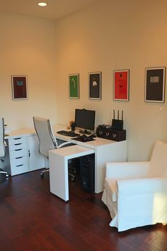 white ikea malm desk, white jennylund chair, video game minimalist prints