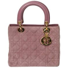 Preowned Lady Dior Mm Lilac Cannage Suede ($1,686) ❤ liked on Polyvore featuring bags, brown, top handle bags, suede bag, brown handle bags, red bag and zip bag