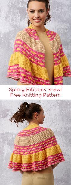 Spring Ribbons Shawl Free Knitting Pattern in Red Heart Yarn