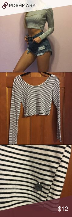 Striped Long-Sleeve Crop Top Soft, stretchy crop top in great condition. Super comfy and cute! Labeled as a medium, but fits more like a small. Garage Tops Crop Tops