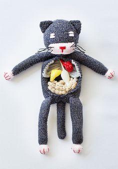 Anatomy Cat Plush Postcard from Knit Kit