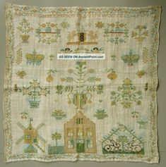 1820 Stunning Dutch Sampler Amsterdam Coat Of Arms House Windmill Angels Crown Samplers photo