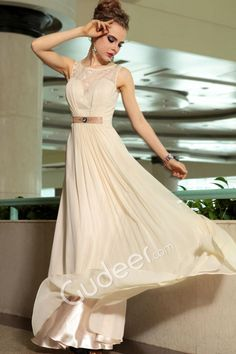 Champagne A-line Floor Length Illusion Jewel Neck Long Evening Formal Dress