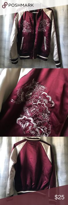 """Bomber Jacket Maroon and cream jacket...satin finish with """"oriental"""" inspired print stitching...worn once... Jackets & Coats"""