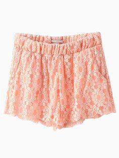 Pink Lace Elastic Waist Shorts - Fashion Clothing, Latest Street Fashion At Abaday.com
