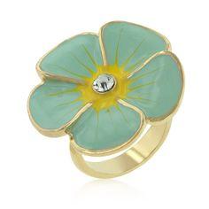 Light Blue Enamel Large Floral Ring