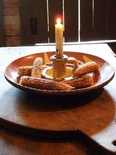 candle with mini indian corn