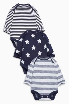 Stars And Stripes Long Sleeve Bodysuits Three Pack (0mths-2yrs)