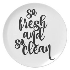 So Fresh So Clean Black & White Design Dinner Plate - diy cyo customize create your own personalize