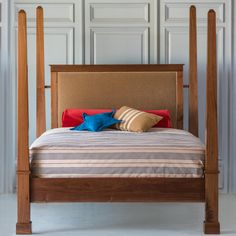 [New] The 10 Best Home Decor Today (with Pictures) - A custom Willy Walnut Canopy Bed! Our artisans are amazingly talented! Spindle Bed, Steel Bed Frame, Bed Company, Little Brothers, Cleaning Wood, Headboard And Footboard, Upholstered Beds, Bedroom Furniture, Home Goods