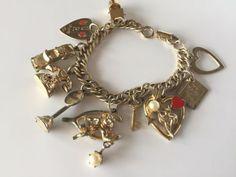 Signed CORO Vintage Bracelet Charm Mid Century Enamel Valentine Heart Diary 57