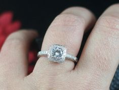 White Sapphire Diamond Halo Engagement Ring Cushion by AlexisHolly