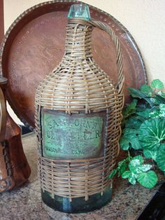 Vintage Wicker Wine Jug