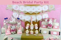 PRINTED Pink Beach Bridal Party Decorations
