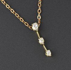 14K Gold Diamond Journey Pendant  #Pendant #Diamond #Gold #14K #1920s #Garnet #Celtic #Wide #wedding #Kropfkette